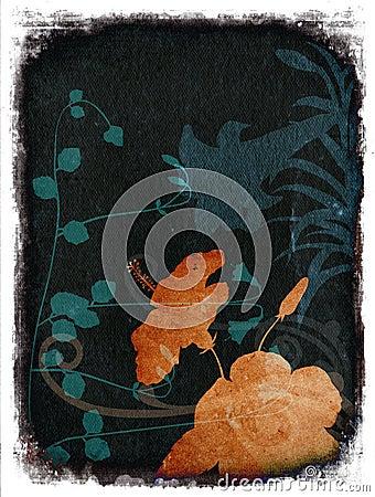 Grunge floral background - orange & teal