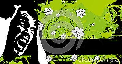 Grunge floral fear banner