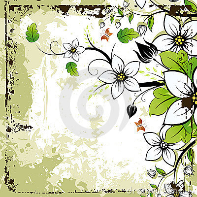 Free Grunge Floral Frame Royalty Free Stock Photos - 9793048