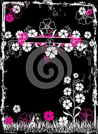 Grunge floral frame, vector