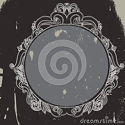 Grunge floral hand drawn frame