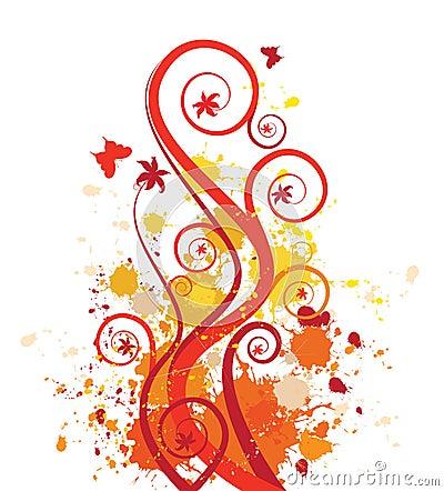 Grunge floral vector design