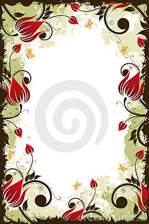 Free Grunge Flower Frame Royalty Free Stock Images - 9235139