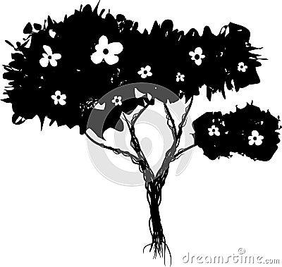 Grunge flowering bush