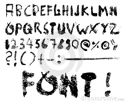 Grunge font vector + special characters