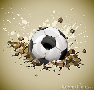 Grunge football soccer ball falling on ground