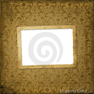 Grunge frame on the ancient ornament background
