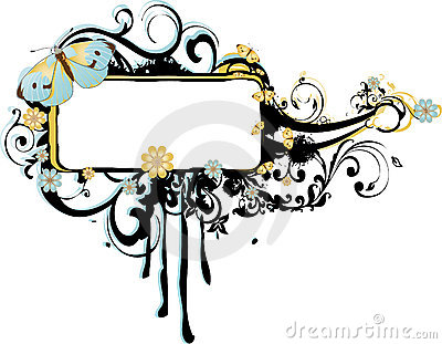 Grunge Frame with Arabesques and Butterflies