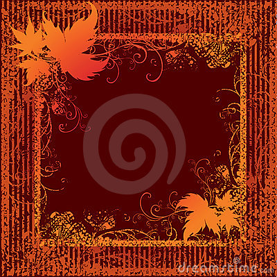 Grunge frame with Autumn Leafs. Thanksgiving