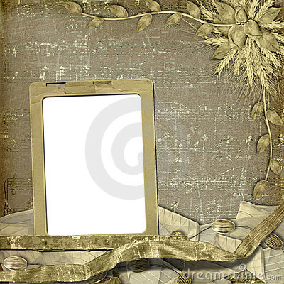 Grunge frame with bunch of rose