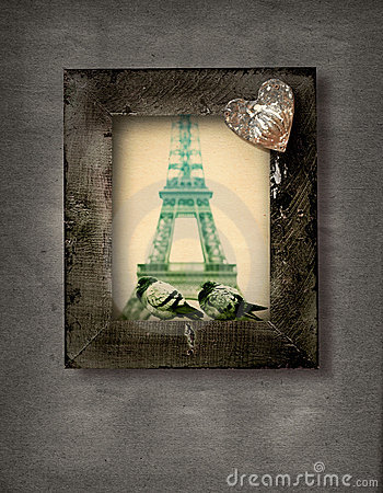 Grunge frame with doves and Eiffel Tower