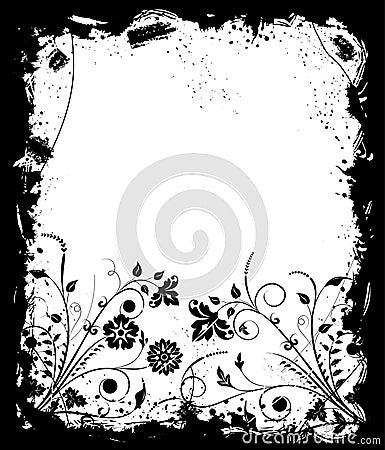 Grunge frame flower, elements for design, vector