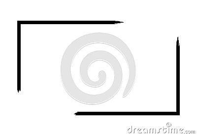 Grunge frame isolated on white background. Black rectangle focus border, dirt stroke template. Paint brush effect Vector Illustration