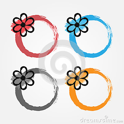 Free Grunge Frame With A Black Flower. Floral Round Border Painted By Hand With A Brush. Stock Photos - 95217173