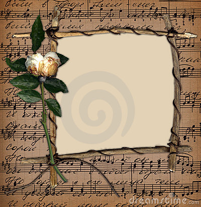 Free Grunge Frame With Old Rose On The Music Background Royalty Free Stock Photography - 7188107