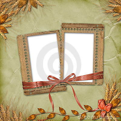 Grunge frames in scrapbooking style with bunch