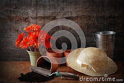 Grunge gardening still life with texture