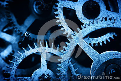 Grunge gear, cog wheels background. Industrial science, clockwork, technology. Stock Photo