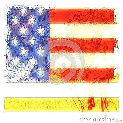 Grunge genomblöt amerikanska flaggan