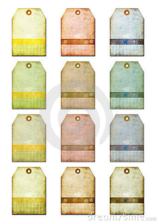 Free Grunge Gift Tags-labels For Scrap-booking Stock Photography - 166612