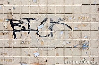 Grunge graffiti on old Tile Wall
