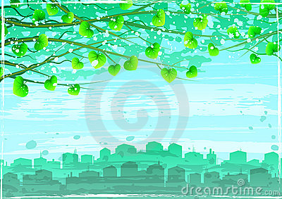 Grunge green ecological city under tree branches