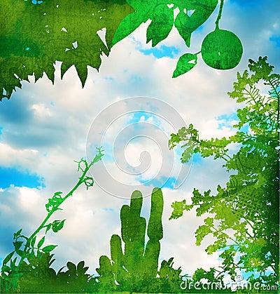 Grunge green garden with sky