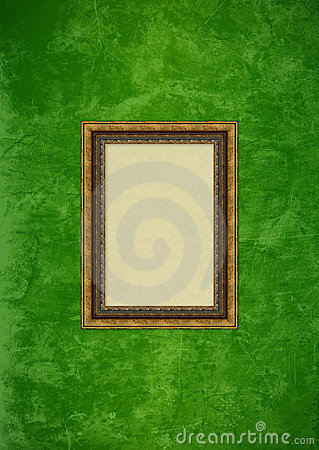 Grunge green stucco wall with empty picture frame
