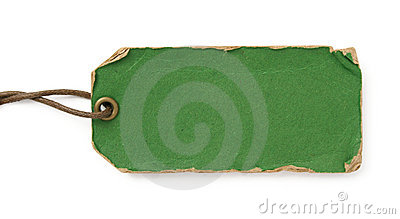 Grunge green tag with brown thread