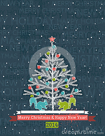 Grunge grey background with christmas tree and wis