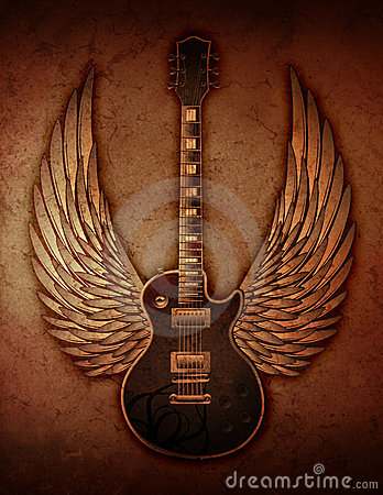 Grunge Guitar with Wings