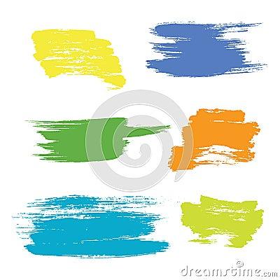 Grunge hand drawn brush stroke vector set. Vector Illustration