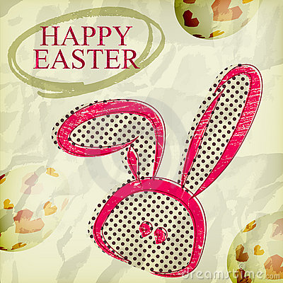 Grunge happy easter greeting card ,  bunny eggs