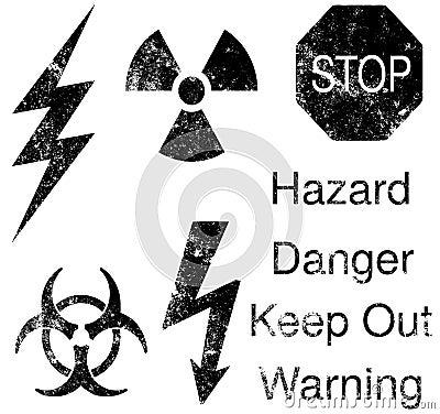 Grunge hazard symbols