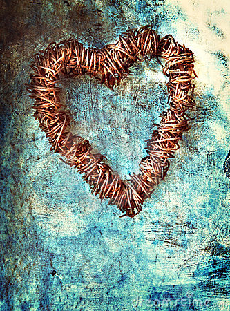 Free Grunge Heart On Blue Wall Stock Image - 22274201