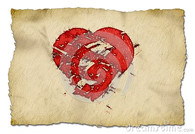 Grunge heart on paper