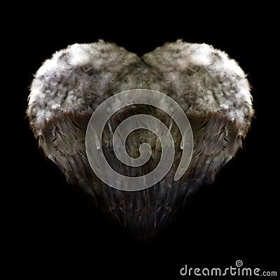 Grunge heart wings