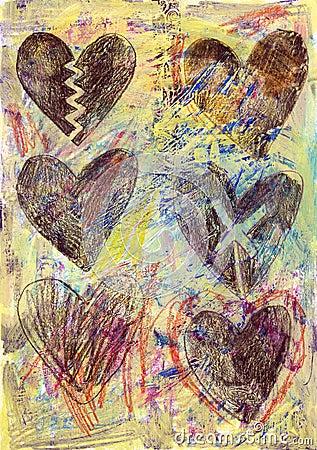 Grunge Hearts Background 2