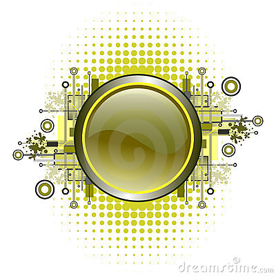 Grunge & hi-tech vector button.