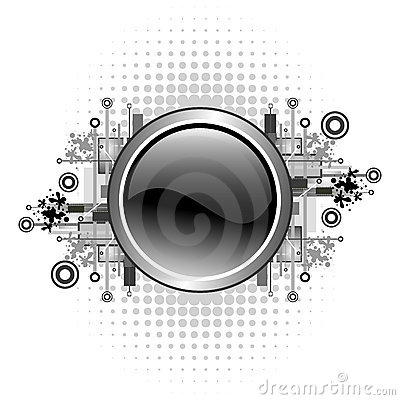 Grunge & hi-tech vector button.