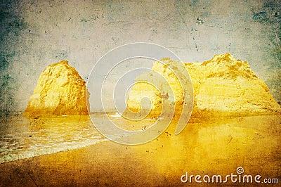 Grunge image of beach in algarve