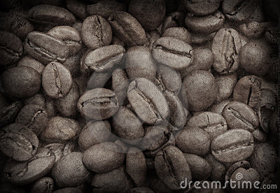 Grunge image of coffee beans