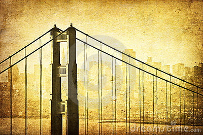 Grunge image of Golden Gate Bridge, San Francisco,