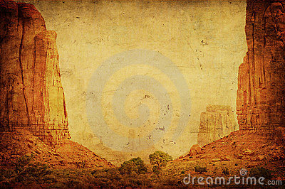 Grunge image of Monument Valley