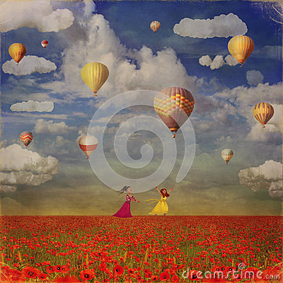 Free Grunge Image Of Small Girls With Colorful Hot Air Balloons Royalty Free Stock Photography - 56576727