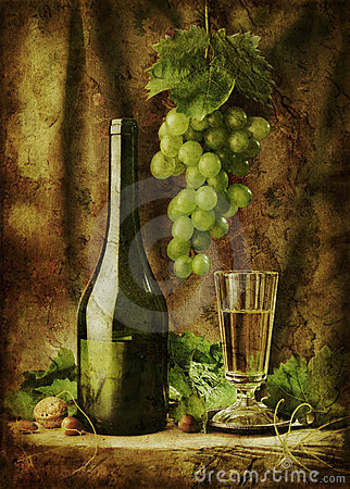 Grunge image of wine still life