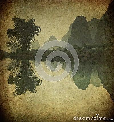 Grunge image of Yulong river, Guangxi province