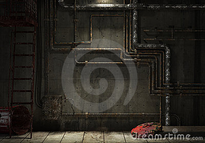 Grunge industrial pipe wall