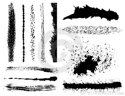 Grunge ink brush strokes