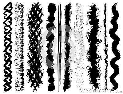 Grunge ink brush strokes